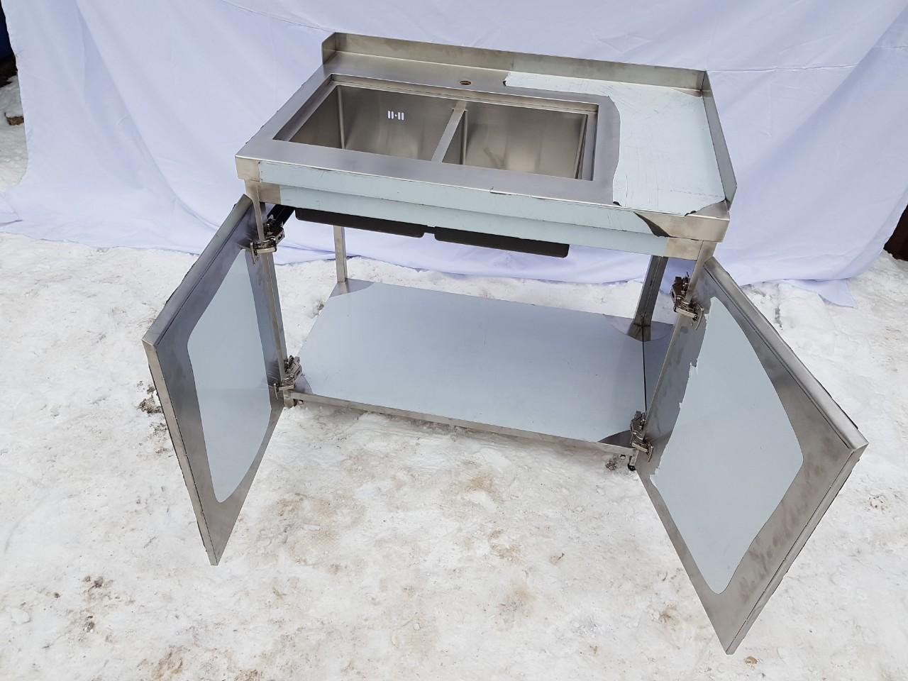 Стол с мойкой штампованной (цельнотянутой) 1200мм x 600мм x 850мм - фотография №1