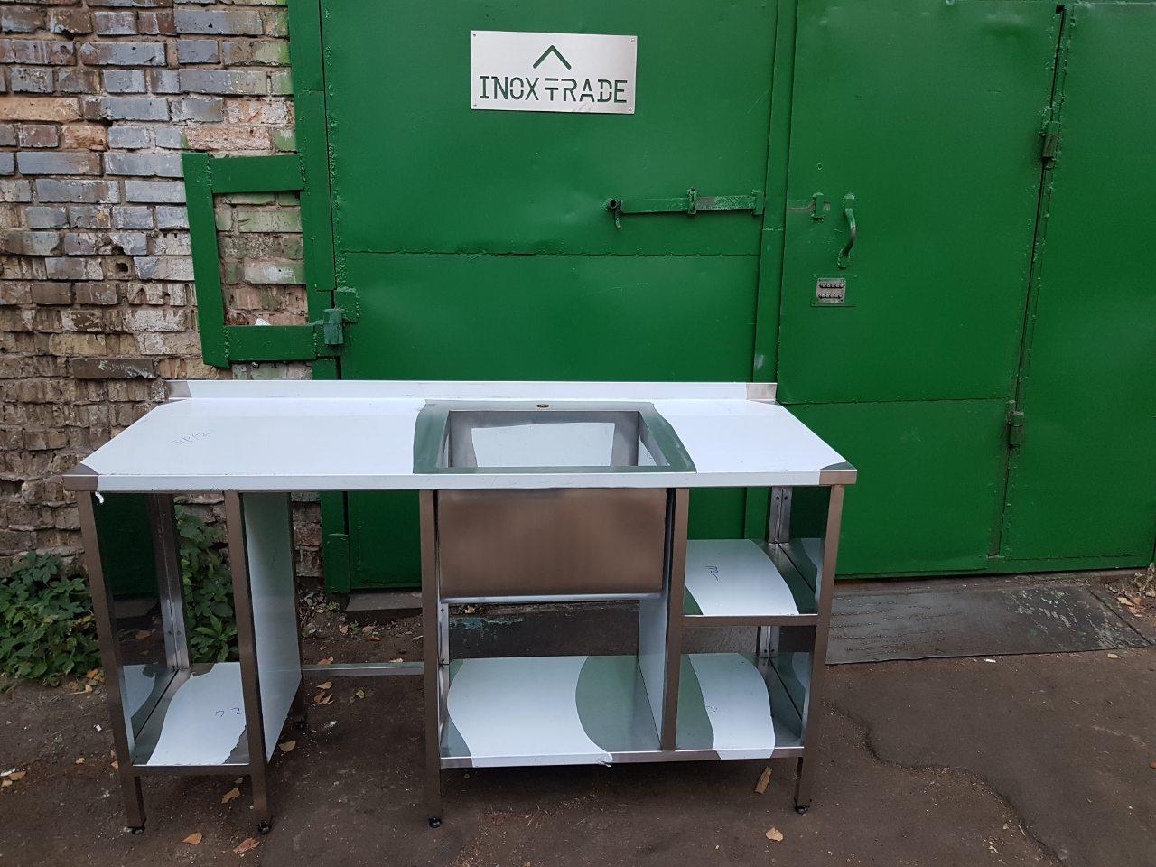 Стол-мойка производственная со сварной чашей 10003 - фотография