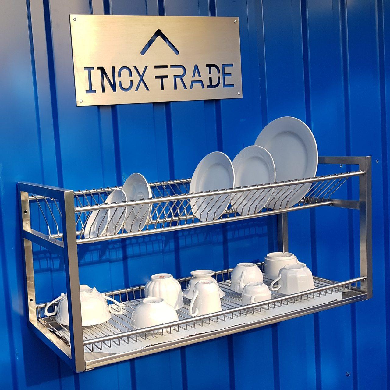 Полка для сушки посуды нержавейка открытая (1000x300x350мм) - фотография